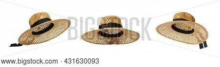 Set With Stylish Straw Hats On White Background, Banner Design. Stylish Headdress