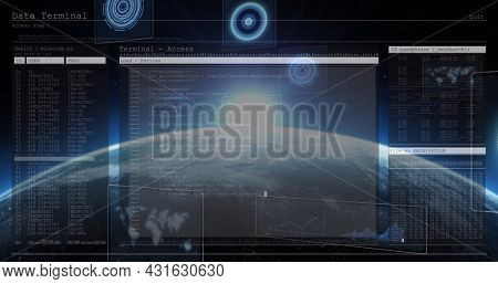 Image of scopes scanning and data processing over digital screens and globe. global connections, technology and digital interface concept digitally generated image.