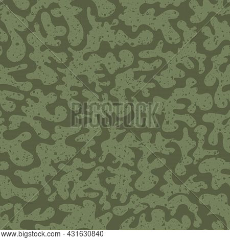 Vermillion Vector Seamless Pattern Background. Historical Style Backdrop In Sage Green With Abstract