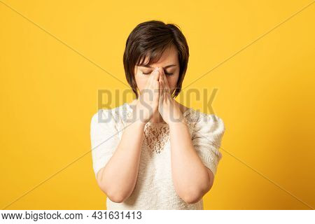 Disappointed Dejected Woman Covering Her Face With Hands Being Tired And Exhausted. Desperate Woman