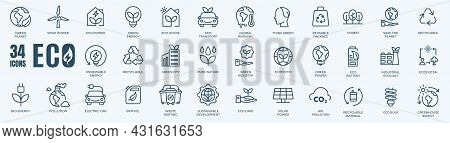 Ecology Or Eco Icons Set. Collection Of Linear Simple Web Icons Such As Recycling, Alternative Green