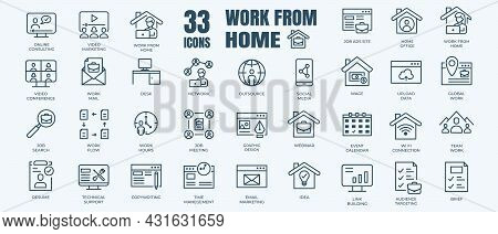 Editable Stroke Icons Of Work From Home Theme . Contains Such Icons As Team Work, Resume, Video Conf