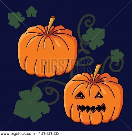 Pumpkin Jack With Carved Halloween Face, Leaves And Stables On Dark Blue Background