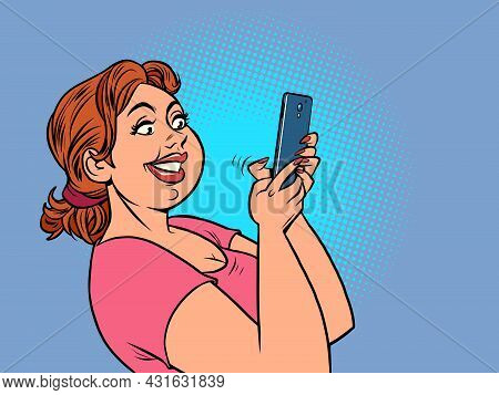 A Happy Woman With A Smartphone, Reading Messages. Online Gadget