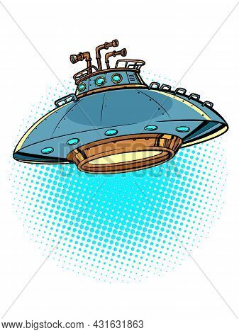 Ufo Flying Saucer Isolated On A Neutral Background. Alien Spaceship