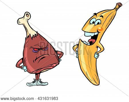 Banana And Ham, Meat Chicken Pork Beef Turkey Leg And Fruit. Meat Against Vegetarianism