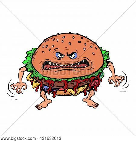 Angry Hungry Burger Character. Emotional Fast Food. Isolate On White Background