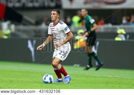 Gabriele Zappa Of Cagliari Calcio  Controls The Ball During The Serie A Match Between Ac Milan And C