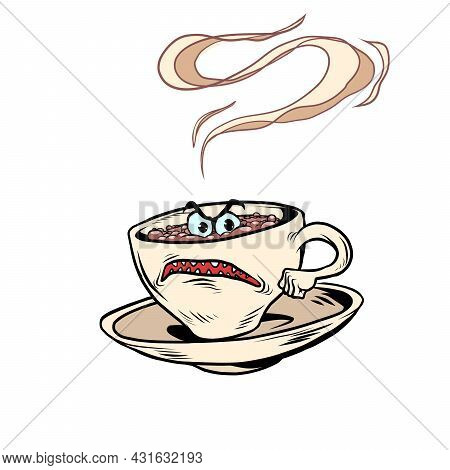 Angry Negative Tired Cup Of Coffee Funny Character. Hot Morning Drink