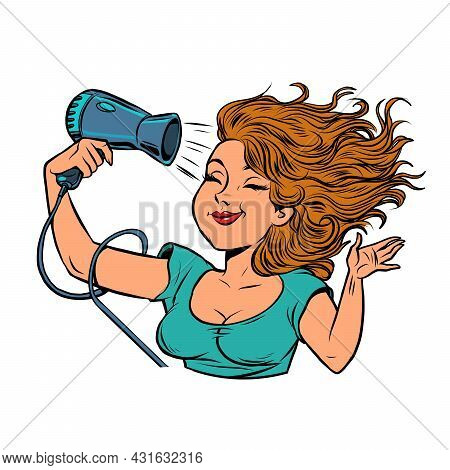 Beautiful Young Woman Dries Her Hair With A Hair Dryer. Hygiene Equipment