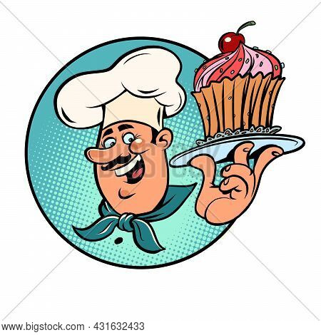 Sweet Cupcake Basket With A Cherry In The Hands Of The Cook. Confectionery Product