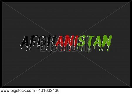 Afghanistan Typography Text. Afghanistan Flag Color On Typography.