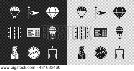 Set Box Flying On Parachute, Cone Meteorology Windsock Wind Vane, Parachute, Stewardess, Compass, Me