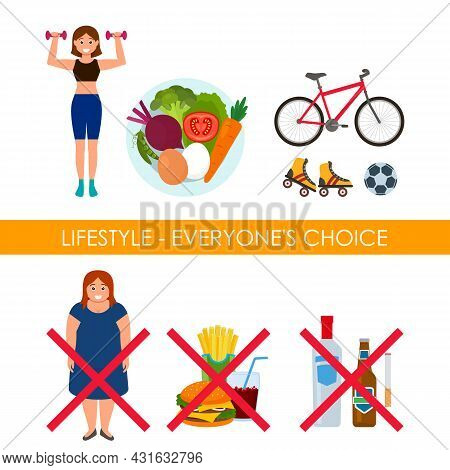 Good And Bad Food, Fresh Vegetables And Fast Food With Soda And Burger. Slim Athletic Girl And A Wom
