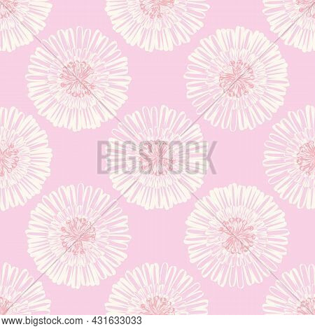 Modern Abstract Gerbera Daisy Flower Seamless Pattern Background. Geometric Repeat With Monochrome P