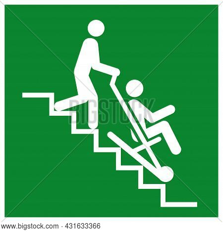 Evacuation Chair Symbol Sign, Vector Illustration, Isolate On White Background Label. Eps10