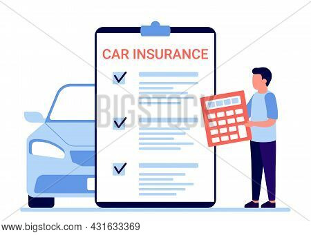 Car Insurance, Auto Claim Document. Count Property Tax Form Of Vehicle. Vector Illustration