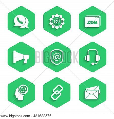 Set Shield With Mail And E-mail, Chain Link, Envelope, Headphones, Mail, Megaphone, Website Template