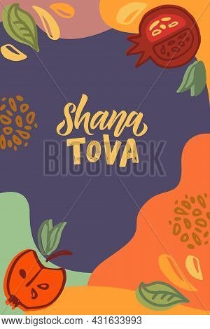 Vector Illustration Of Lettering Typography For Rosh Hashanah Jewish New Year. Icon, Badge, Poster,