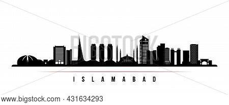 Islamabad Skyline Horizontal Banner. Black And White Silhouette Of Islamabad, Pakistan. Vector Templ
