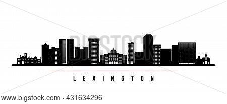 Lexington Skyline Horizontal Banner. Black And White Silhouette Of Lexington, Kentucky. Vector Templ