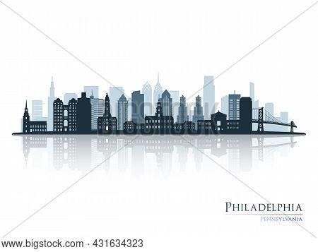 Philadelphia Skyline Silhouette With Reflection. Landscape Philadelphia, Pennsylvania. Vector Illust