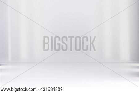 White Blur Abstract Room Interior Background And Lights.3d Illustration.blank Space Soft Gradient Wa