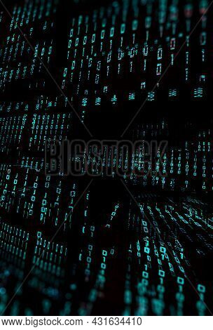 Matrix Concept And Binary Code.virtual Data Transfer.3d Illustration,abstract 3d Background,binary L