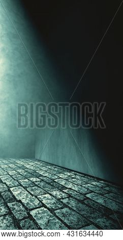 Street Or Urban Place In The Dark Night.cobblestone Floor And Concrete Wall Illuminated By The Light