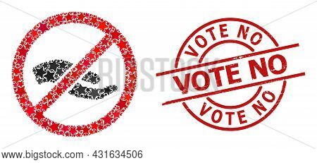 Forbid Asking Hand Star Pattern And Grunge Vote No Seal. Red Seal With Grunge Texture And Vote No Ta