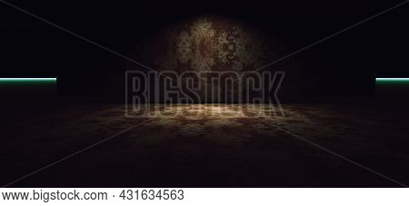 Empty Cement Room Or Space.floor With  Concrete Wall Texture Background  Illuminated By Spotlight Or