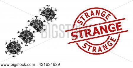 Virus Blockchain Star Pattern And Grunge Strange Seal Stamp. Red Seal With Grunge Style And Strange
