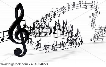 3d Illustration Of Musical Notes And Musical Signs Of Abstract Music Sheet.music Background Design.m