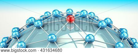 Partner And Teamwork Business Concept With Ball Structure And Mesh Or Net. 3d Illustration.networkin