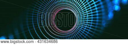 Hi-tech Digital Data Connection System And Computer Electronic Design.3d Illustration.blockchain Tec