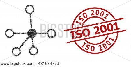 Connections Star Mosaic And Grunge Iso 2001 Seal Stamp. Red Imprint With Grunge Style And Iso 2001 T