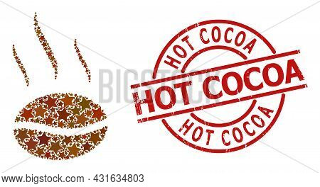 Coffee Aroma Star Mosaic And Grunge Hot Cocoa Badge. Red Watermark With Unclean Texture And Hot Coco