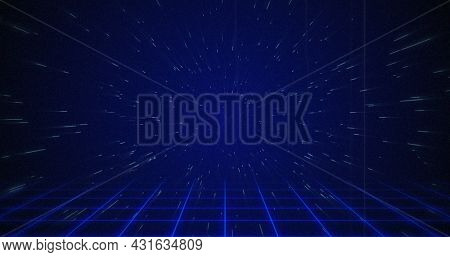 Image of white particle coming from the background above squared floor against blue background. 4k