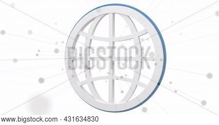 Image of white spots over white globe on white background. global travel, shipping, delivery and shopping concept digitally generated image.