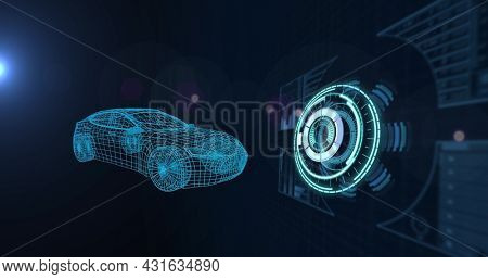 Image of 3d car drawing with scope scanning and data processing. global car industry, technology, data processing and digital interface concept digitally generated image.