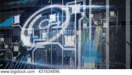 Image of scope scanning and data processing. global technology, data processing and digital interface concept digitally generated image.