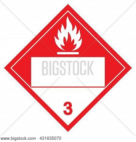 Class 3 Combustible Symbol Sign, Vector Illustration, Isolate On White Background Label. Eps10
