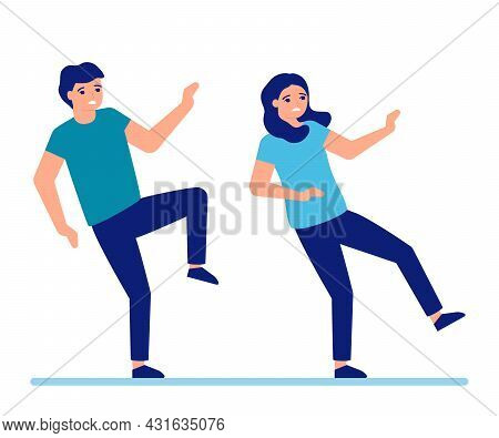 Man And Woman Slip And Fall Down To Floor. Slippery Floor For Adult People. Male And Female Fail And