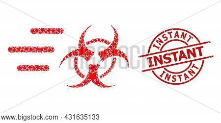 Rush Biohazard Star Mosaic And Grunge Instant Seal Stamp. Red Seal With Scratched Style And Instant