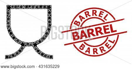 Mug Star Pattern And Grunge Barrel Seal Stamp. Red Seal With Distress Style And Barrel Caption Insid