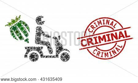 Opium Motorbike Delivery Star Pattern And Grunge Criminal Seal Stamp. Red Seal With Rubber Surface A
