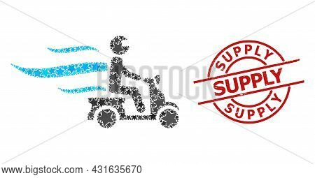 Fast Motorbike Courier Star Pattern And Grunge Supply Seal Stamp. Red Stamp With Distress Surface An
