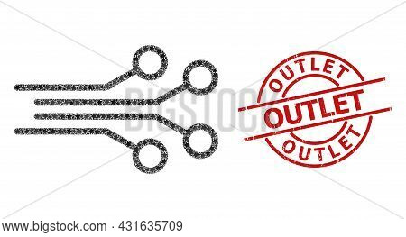Electrical Connectors Star Pattern And Grunge Outlet Badge. Red Stamp With Grunge Style And Outlet S