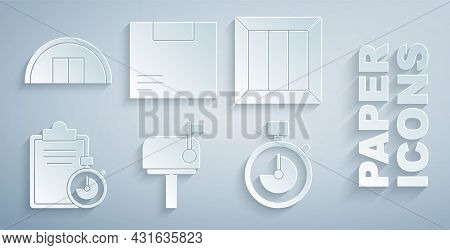 Set Mail Box, Wooden, Verification Of Delivery List Clipboard, Stopwatch, Carton Cardboard And Wareh
