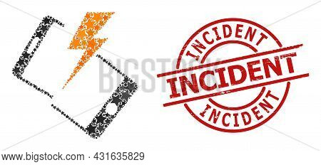 Smartphone Crash Star Mosaic And Grunge Incident Badge. Red Stamp With Rubber Texture And Incident W
